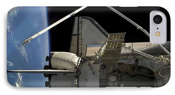 A Soyuz Vehicle And The Space Shuttle Phone Case by Stocktrek Images