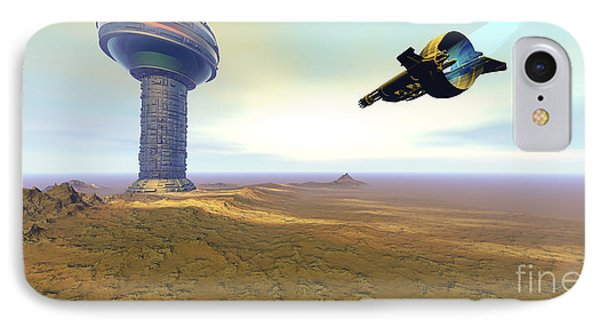 A Spacecraft Nears A Spaceport Phone Case by Corey Ford
