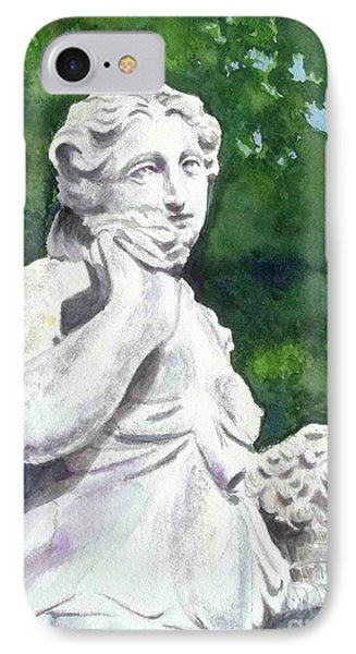 IPhone Case featuring the painting A Statue At The Wellers Carriage House -1 by Yoshiko Mishina