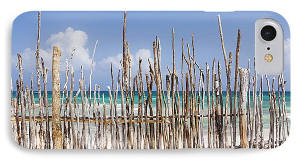 A Stick Fence Along The Beach At Tulum IPhone Case
