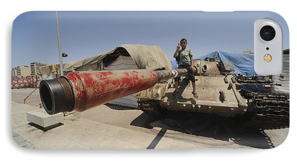 A T-55 Tank With Two Children Playing Phone Case by Andrew Chittock