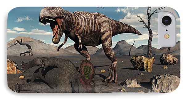 A T. Rex Is About To Make A Meal Phone Case by Mark Stevenson