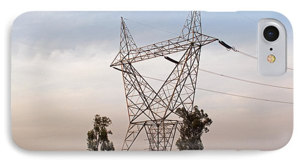 A Transmission Tower Carrying Electric Lines In The Countryside IPhone Case by Ashish Agarwal