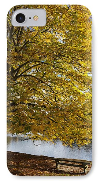 A Tree With Golden Leaves And A Park Phone Case by John Short
