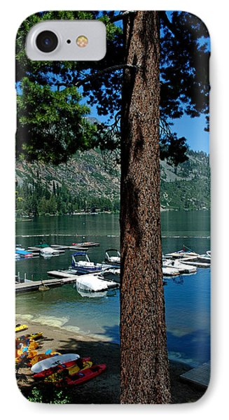 A Trees View Of Fallen Leaf Lake IPhone Case by LeeAnn McLaneGoetz McLaneGoetzStudioLLCcom