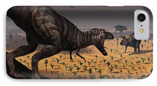 A Tyrannosaurus Rex Spots Two Passing Phone Case by Mark Stevenson