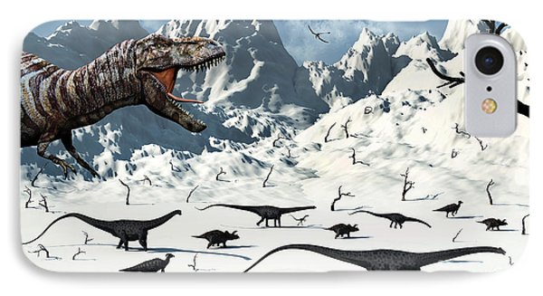 A  Tyrannosaurus Rex Stalks A Mixed Phone Case by Mark Stevenson