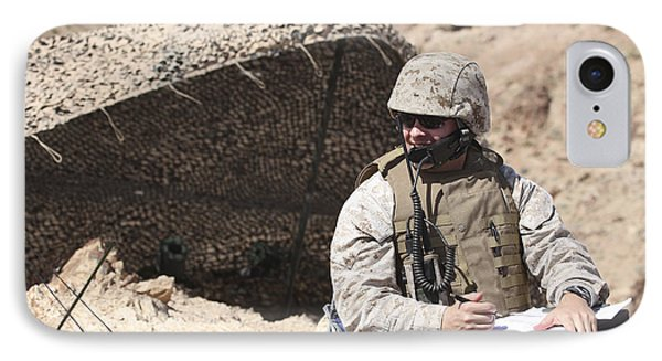 A U.s. Marine Communicates With Close Phone Case by Stocktrek Images
