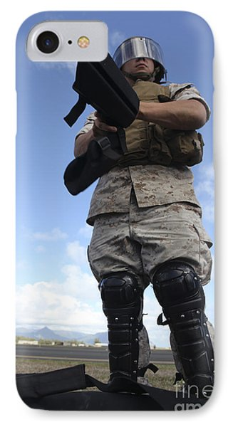 A U.s. Marine Dons Riot Gear For Drills Phone Case by Stocktrek Images