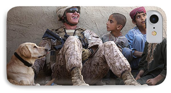 A U.s. Marine Jokes With Afghan Phone Case by Stocktrek Images