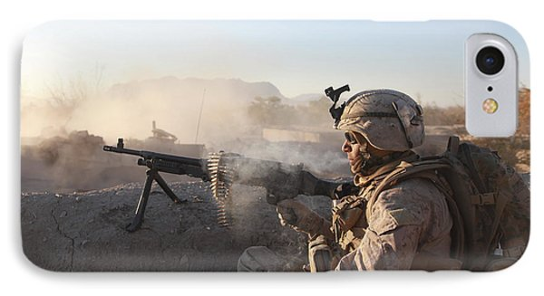 A U.s. Marine Provides Support By Fire IPhone Case by Stocktrek Images