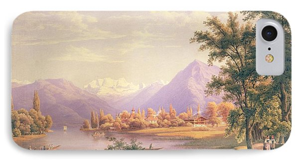 A View Of Scherzingen On The Lake Of Thun IPhone Case by Jakob Suter