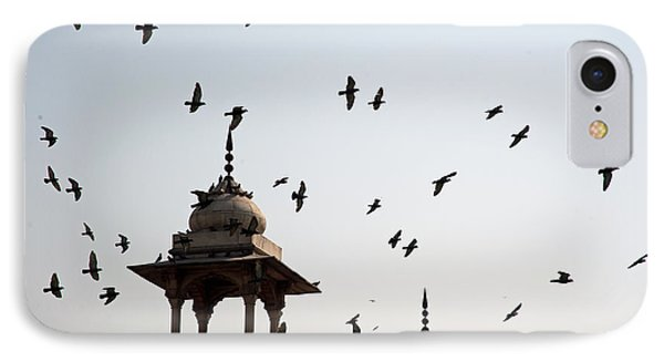 A Whole Flock Of Pigeons On The Top Of The Ramparts Of The Red Fort In New Delhi IPhone Case by Ashish Agarwal