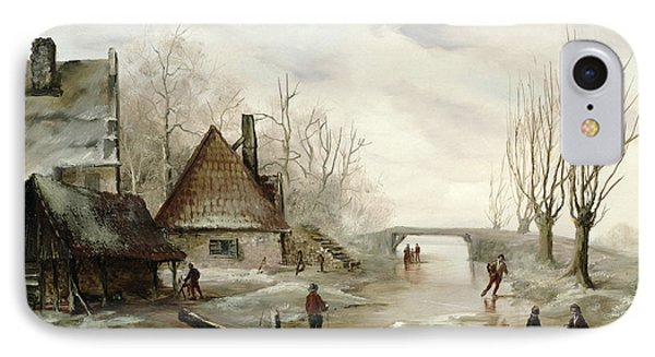 A Winter Landscape With Figures Skating Phone Case by Dutch School