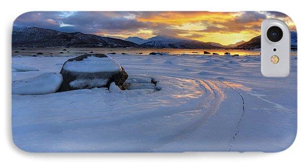 A Winter Sunset Over Tjeldsundet IPhone Case by Arild Heitmann