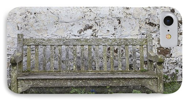 A Wooden Bench With Peeling Paint Phone Case by John Short