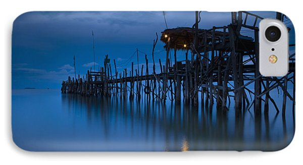 A Wooden Pier With Lights On It At Phone Case by David DuChemin