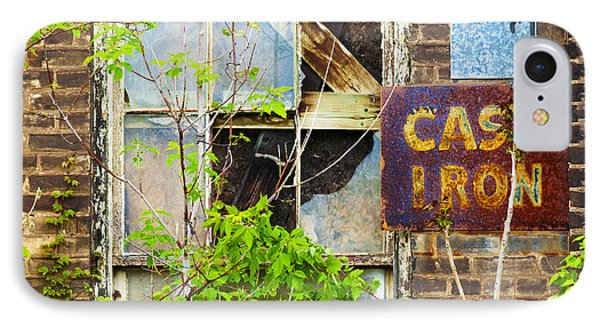 Abandoned Factory With Rusted Metal Sign Phone Case by Gordon Wood
