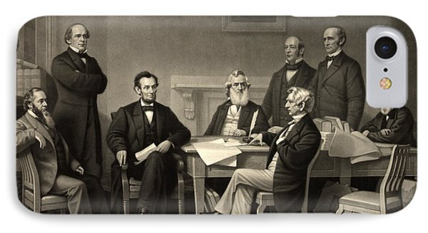 IPhone Case featuring the photograph Abraham Lincoln At The First Reading Of The Emancipation Proclamation - July 22 1862 by International  Images