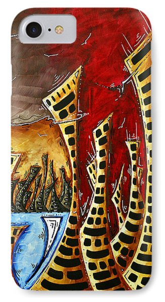 Abstract Art Contemporary Coastal Cityscape 3 Of 3 Capturing The Heart Of The City II By Madart Phone Case by Megan Duncanson