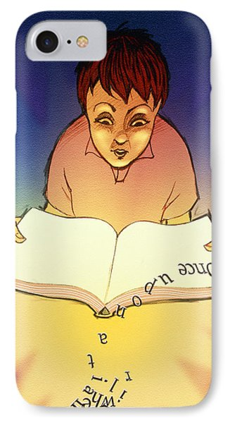 Abstract Artwork Of A Dyslexic Boy Reading A Book Phone Case by David Gifford
