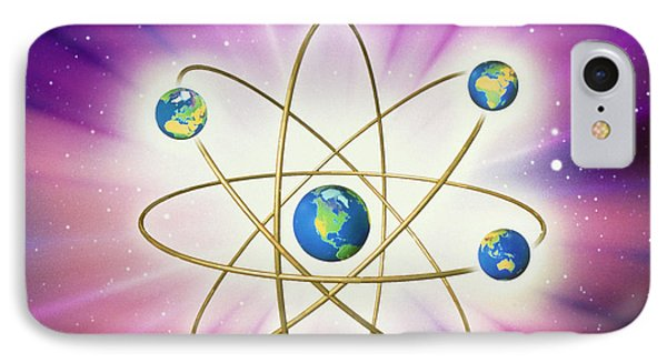Abstract Artwork Of Earth Arranged As An Atom Phone Case by Mehau Kulyk