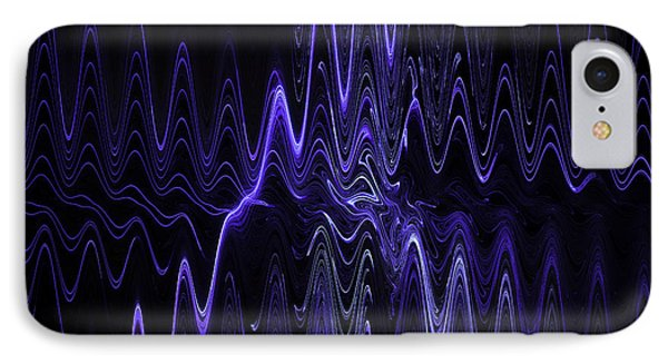 Abstract Digital Blue Waves Fractal Image Black Computer Art IPhone Case by Keith Webber Jr