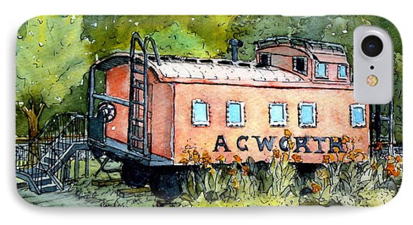 IPhone Case featuring the painting Acworth Caboose by Gretchen Allen