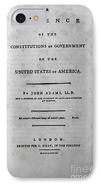 Adams: Title Page, 1787 Phone Case by Granger