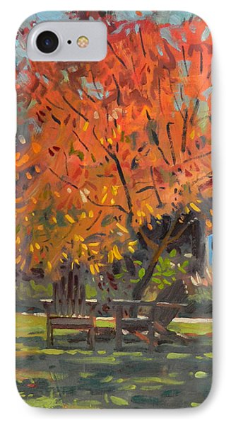 IPhone Case featuring the painting Adirondack Chairs by Donald Maier