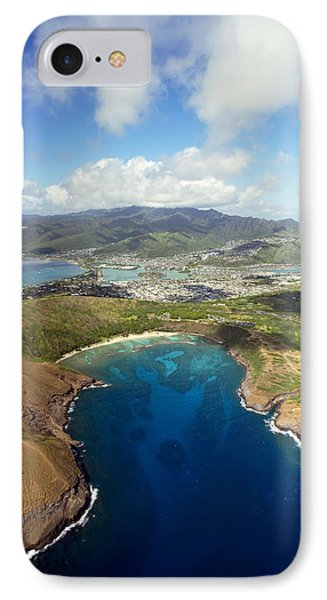Aerial Of Hanauma Bay Phone Case by Ron Dahlquist - Printscapes