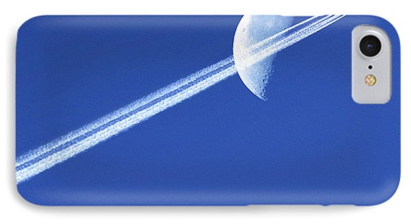 Aeroplane Contrail Against The Moon Phone Case by Detlev Van Ravenswaay