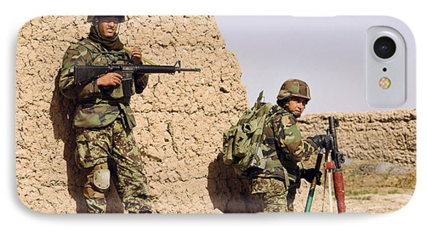 Afghan Soldiers Conduct A Dismounted Phone Case by Stocktrek Images