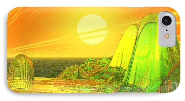 IPhone Case featuring the digital art Green Crystal Hills by Kim Prowse