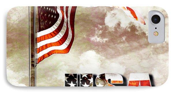 Aged Usa Flag On Pole IPhone Case