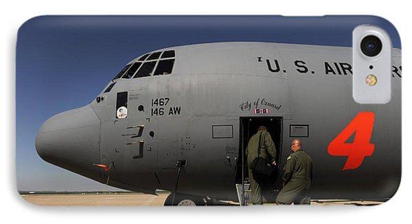 Airmen Board A C-130j Hercules At Dyess Phone Case by Stocktrek Images