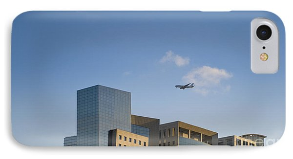 Airplane Flying Over Office Buildings Phone Case by Noam Armonn