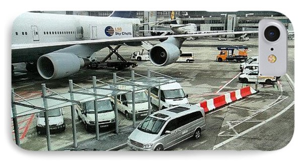 #airport #manchester #plane #car #cloudy IPhone Case by Abdelrahman Alawwad