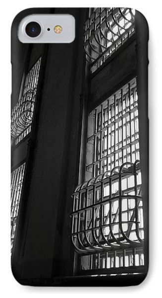 Alcatraz Federal Penitentiary Cell House Barred Windows Phone Case by Daniel Hagerman