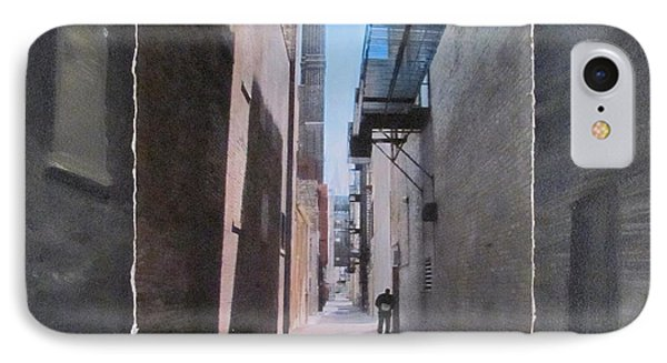 Alley With Guy Reading Layered Phone Case by Anita Burgermeister
