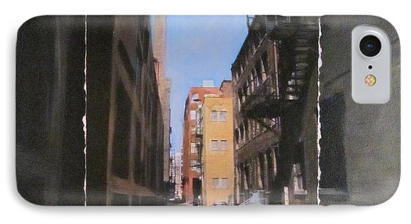 Alley With Red And Tan Buildings Layered Phone Case by Anita Burgermeister