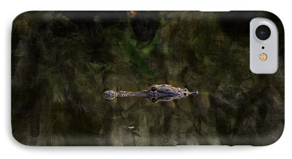 IPhone Case featuring the photograph Alligator In Swamp by Dan Friend