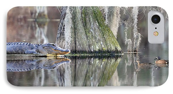 IPhone Case featuring the photograph Alligator Waiting For Dinner by Dan Friend
