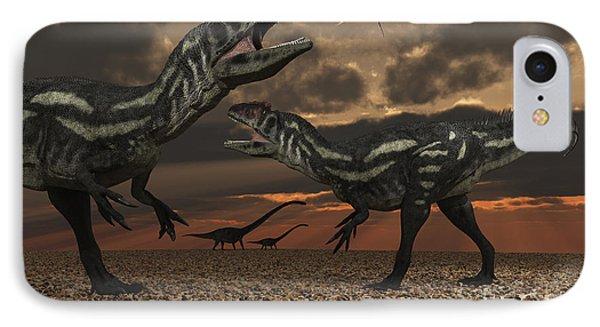 Allosaurus Dinosaurs Stalk Their Next Phone Case by Mark Stevenson