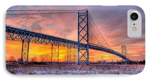 Ambassador Bridge Sunrise 1-16-2012  Detroit Mi IPhone Case by Nicholas  Grunas