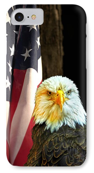 IPhone Case featuring the photograph American Eagle And American Flag by Randall Branham