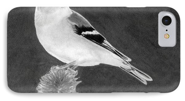 IPhone Case featuring the drawing American Goldfinch by Ana Tirolese