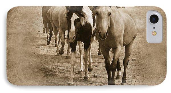 American Quarter Horse Herd In Sepia Phone Case by Betty LaRue