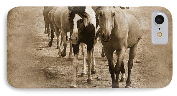 American Quarter Horse Herd In Sepia IPhone Case