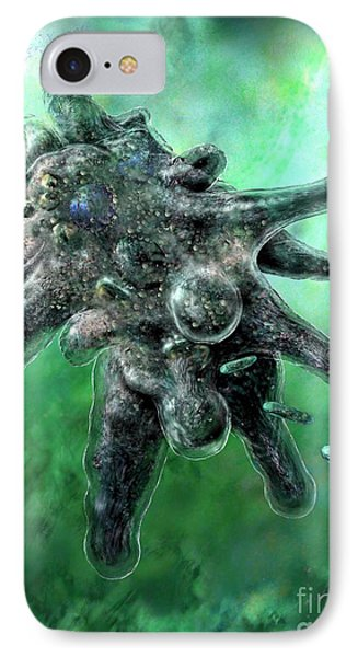 IPhone Case featuring the digital art Amoeba Green by Russell Kightley